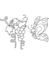 Cute Butterfly Girl And Bunch Of Grapes Coloring Page Free
