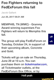 Fedex Forum Seating Chart Foo Fighters Foo Fighters Returning To Fedexforum This Fall Jun 20 2017