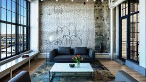 the brick living room furniture. Furniture : Modern Industrial Living Room With Black Sofa And White Coffee Table On Dark Fabric Rug Also Long Bench Seat Brick Wall 12 Spectacular The