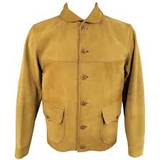 men s rrl by ralph lauren 42 tan sude leather cuved collar er jacket for