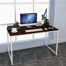 simple contemporary white steel computer desk pc laptop workstation table 140cm x 60cm