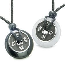bestamulets amulets love couple lucky coins black agate white snowflake quartz donuts yin yang pendant necklaces com