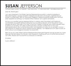 Patient Service Representative Cover Letter Sample Cover Letter