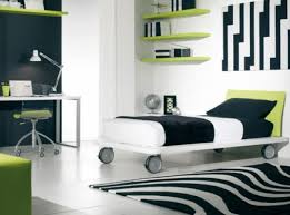 boys bedroom ideas green. Teen Boy Bedroom Ideas With White And Black Wall Floor Tiles Combined Wooden Bed Wheels Green Furniture Boys E