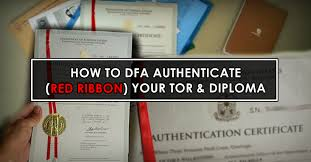 how to dfa red ribbon authenticate your documents tor diploma  red ribbon authentication process