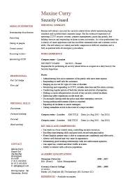 Security Guard Resume 1 Work Duties Example Sample Safety Checks