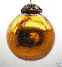 Exquisite Kugel Amber Crackle Glass Christmas Ornament | #33031477