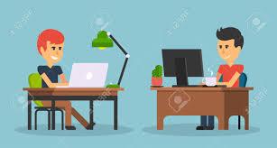 work office design. People Work In Office Design Flat. Business Man, Computer Worker, Desk Table S