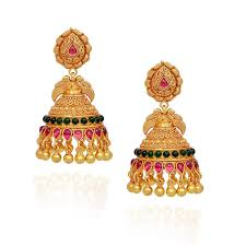 Latest Gold Jhumka Earrings Design With Price In India Jhumki Earrings Red Green Stones Studded Annapakshi With