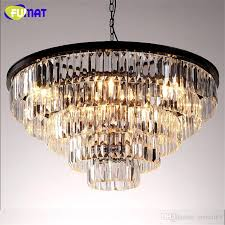 fumat k9 crystal chandelier loft antique crystal suspension lamp amber smoky gray clear indoor lighting led light fixtures foyer pendant lighting in