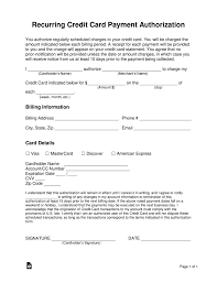 free recurring credit card authorization form pdf word eforms