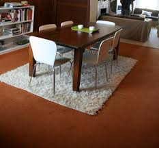 Rugs Under Kitchen Table Dark Gray Rug Under Rectangle Veneered Plywood Dining Table With