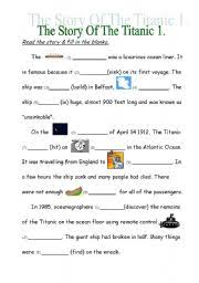english teaching worksheets titanic english worksheets the story of the titanic 1