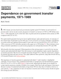 Pdf Dependence On Government Transfer Payments 1971 1989