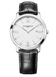 baume and mercier classima men s stainless and black leather watch