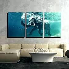 ocean wall decor 3 piece canvas art swimming elephant underwater in themed nursery sea oce