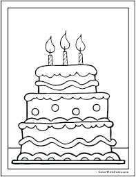 Cake Coloring Pages Birthday Cake Coloring Page Pages With No