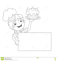 Small Picture Coloring Page Outline Of Cartoon Boy Chef With Cake Menu Stock