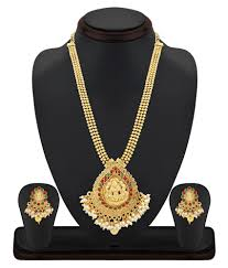 Laxmi Pearls Designs Palash Gold Plated South Indian Pearl Beaded Laxmi Necklace