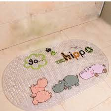 perfect lily rubber pvc non slip kids cartoon safety shower tub bath mat mildew mould resistant bathmat lovely hippo by perfect lily for