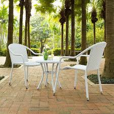 3 piece white wicker patio chairs table set small space outdoor furniture