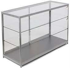 glass countertop display case with aluminum frame