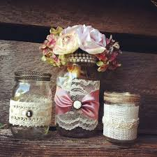 Decorated Jars For Weddings Burlap And Lace Mason Jar Vases Vintage Style Lace Mason Jars 21