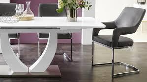 Essgruppe Ulm Weiß Hochglanz Mit 4x Stuhl Beate Antiklederlook Grau