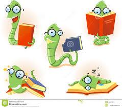 set cartoon bookworm