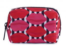 lulu guinness lip stripe print makeup case