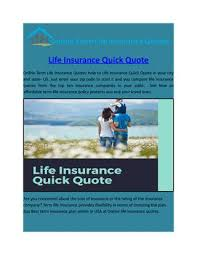 Life Insurance Quick Quote Mesmerizing Life Insurance Quick Quote By Onlinelifeinsurancequotes Issuu