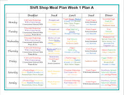 Shift Plan Shift Shop Week 1 Meal Plan And Workouts Focused On Fitness