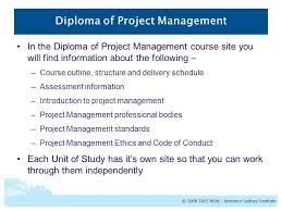 diploma of project management course outline nsw course number  8 diploma of project management