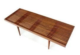 mid century bench seat modern benches danish slat wood walnut at