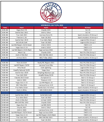 2018 schedule below for reference only