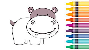 How To Draw Hippo Coloring Pages For Kids Learn Animal Drawing And Coloring