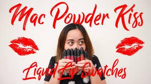 <b>MAC</b> POWDER KISS LIQUID LIPSTICK ALL 17 LIP SWATCHES ...
