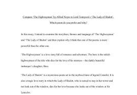 compare the highwayman by alfred noyes to lord tennyson s the  document image preview