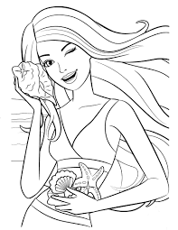 Barbie Sea Shell Coloring Pages Barbie Coloring Pictures