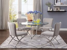 acme 71180 82 5 pc daire chrome clear glass top acrylic legs round dining table set