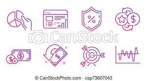 Pie Chart Dollar Money And Loan Percent Icons Set Cashback Loyalty Points And Target Signs Vector