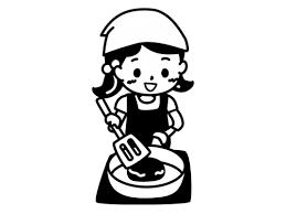 料理する子どもの白黒イラスト かわいい無料の白黒イラスト モノぽっと