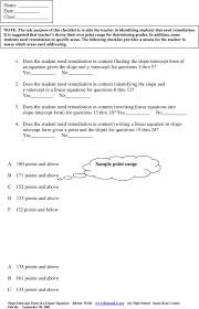 the following checklist provides a means for the teacher to assess which areas need addressing
