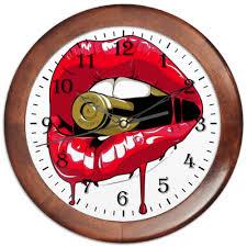 Часы круглые из дерева Пуля во рту #1601499 от Leichenwagen