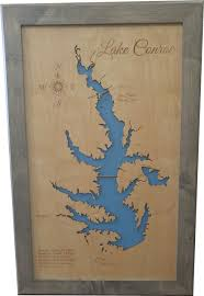 Lake Conroe Nautical Chart Lake Conroe Texas Wood Lake Map Large Framed