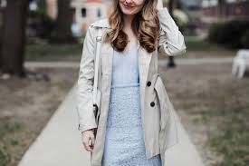 blue lace dress petite trench coat