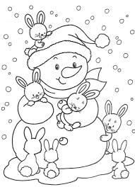 Small Picture Cute Bunnies And Snowman Free Winter Coloring Pages Winter