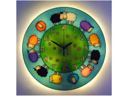 sheep wall clock with light hanp