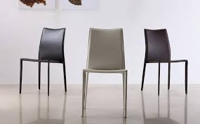 marengo leather contemporary dining chair in black brown or white modern kitchen chairs