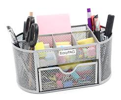 com easypag mesh office desk accessories organizer 9 components with drawer silver office s